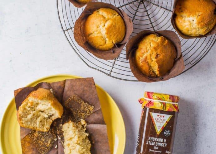 Rhubarb & Stem Ginger Jam Muffins