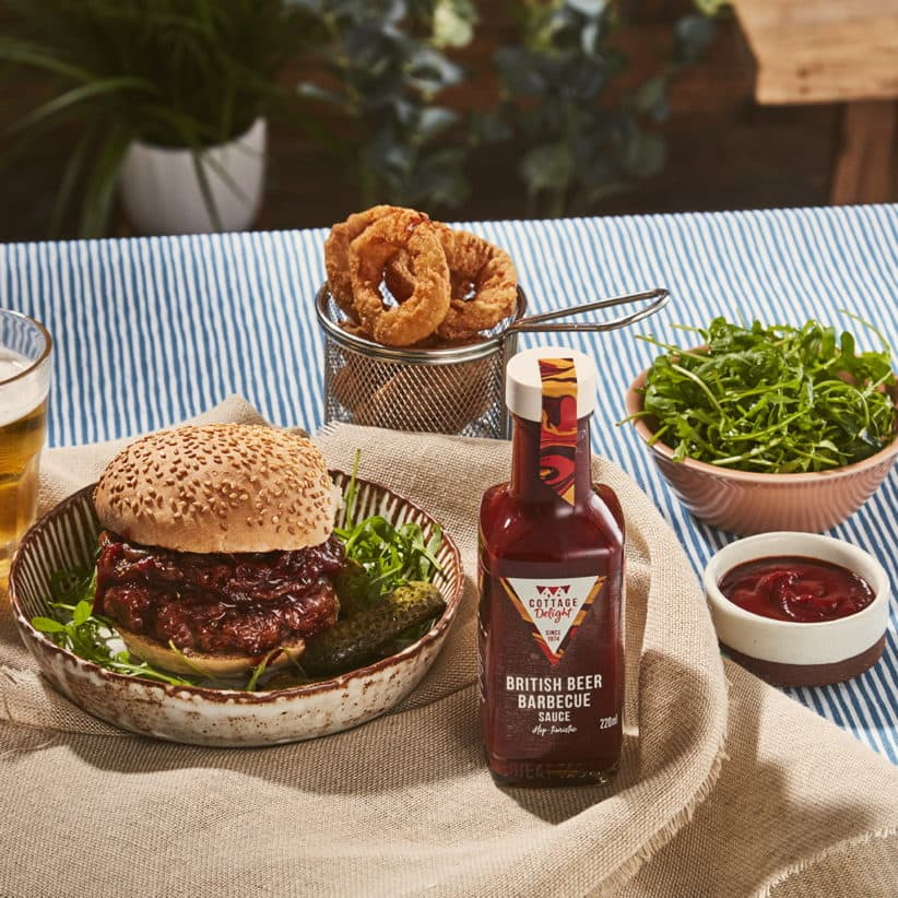 British beer barbecue sauce on a burger