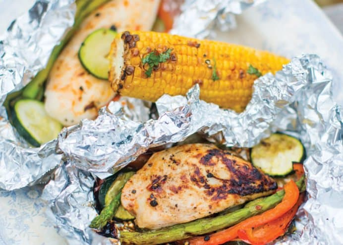 Grilled Barbecue Chicken and Vegetables
