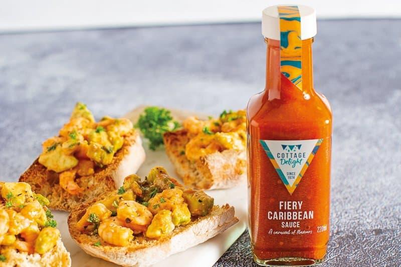 Fiery Prawn & Avocado Garlic Bread