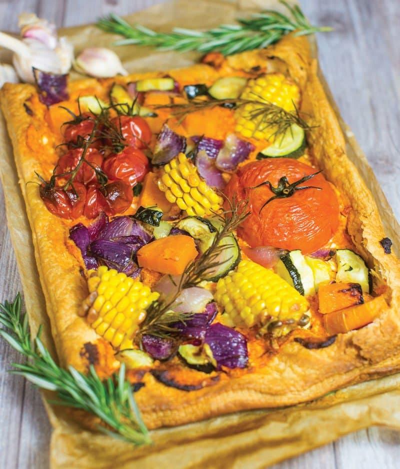 Roast red pepper and feta vegetable tart