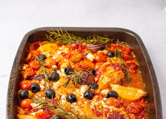 Tomato Garlic & Ginger Mediterranean Chicken Tray Bake