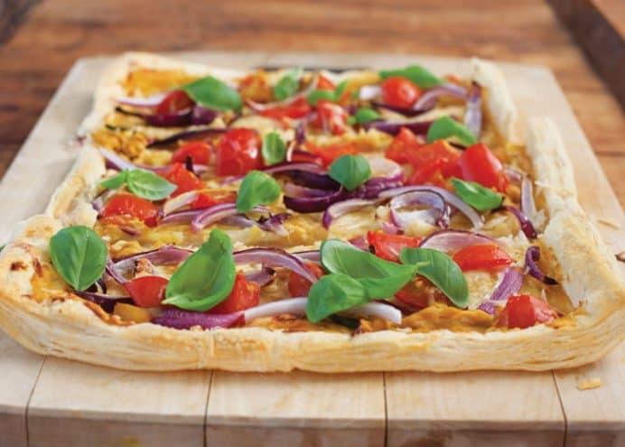 Tomato onion and mustard tart