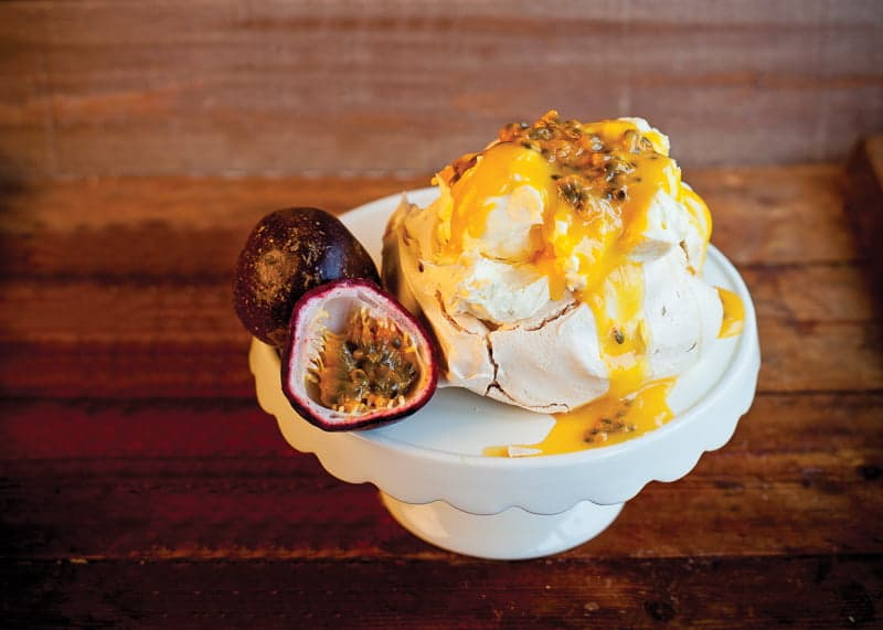 Drizzle on top of Passion Fruit Pavlova
