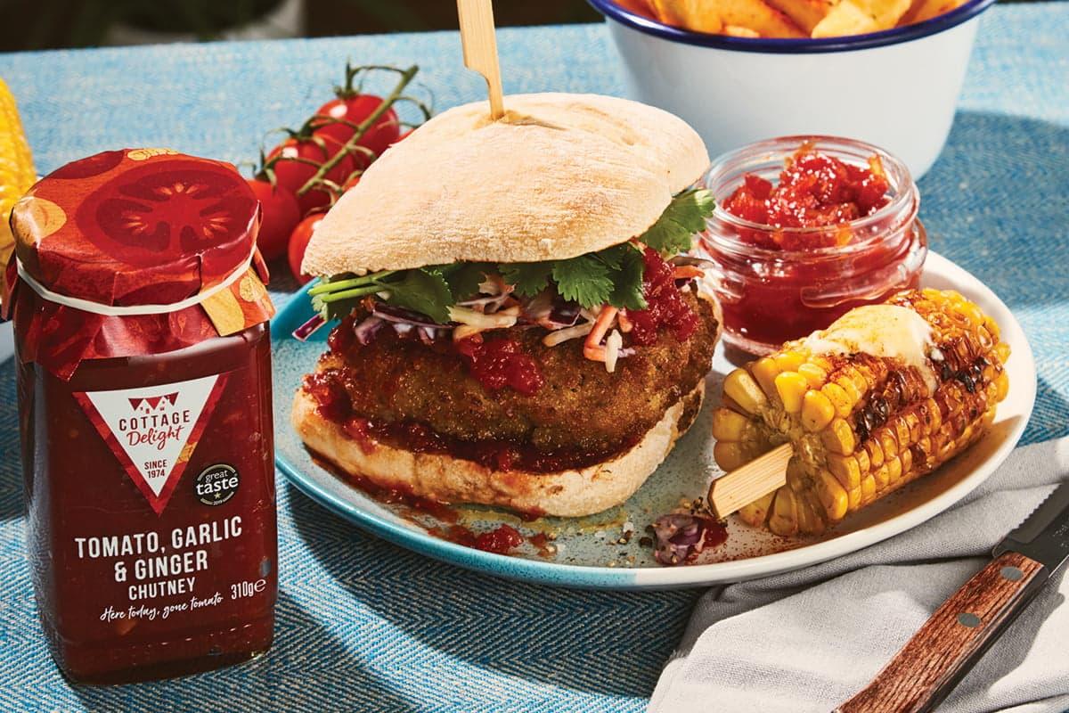 Buttermilk Chicken burger with Tomato Garlic & Ginger Chutney