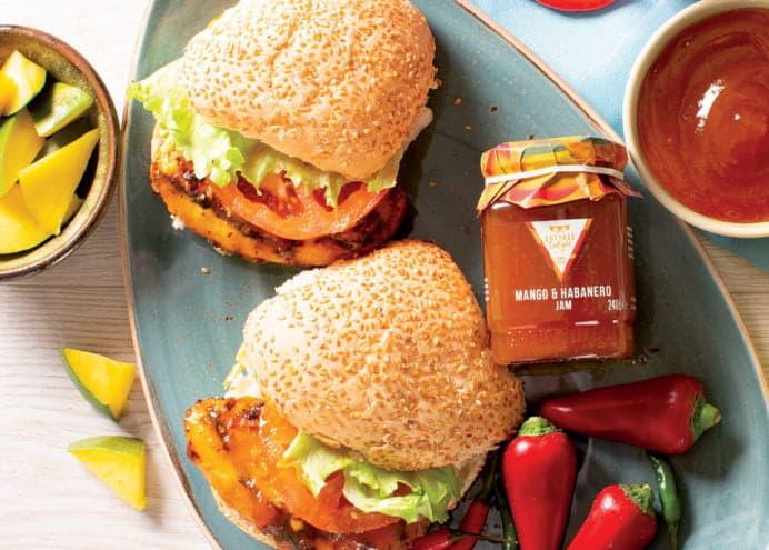 Chicken burger with mango & habanero jam