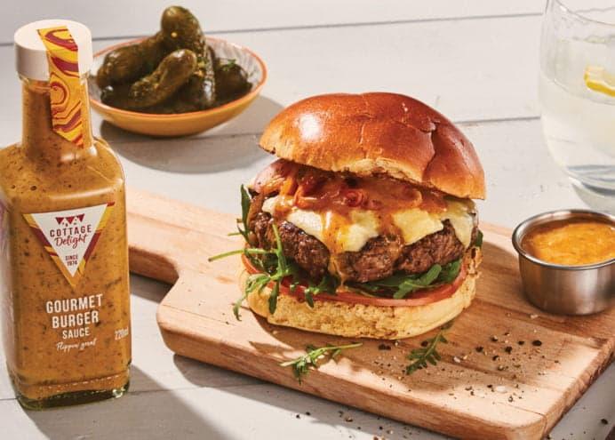 Classic gourmet burger sauce and burger