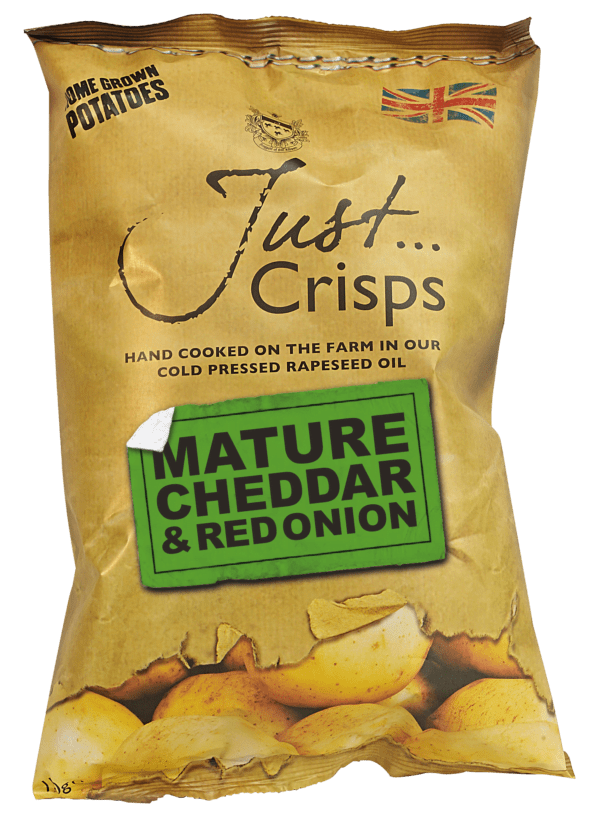 Mature cheddar and red onion just crisps
