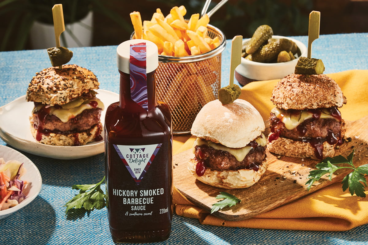 mini beef burgers with hickory smoked barbecue sauce