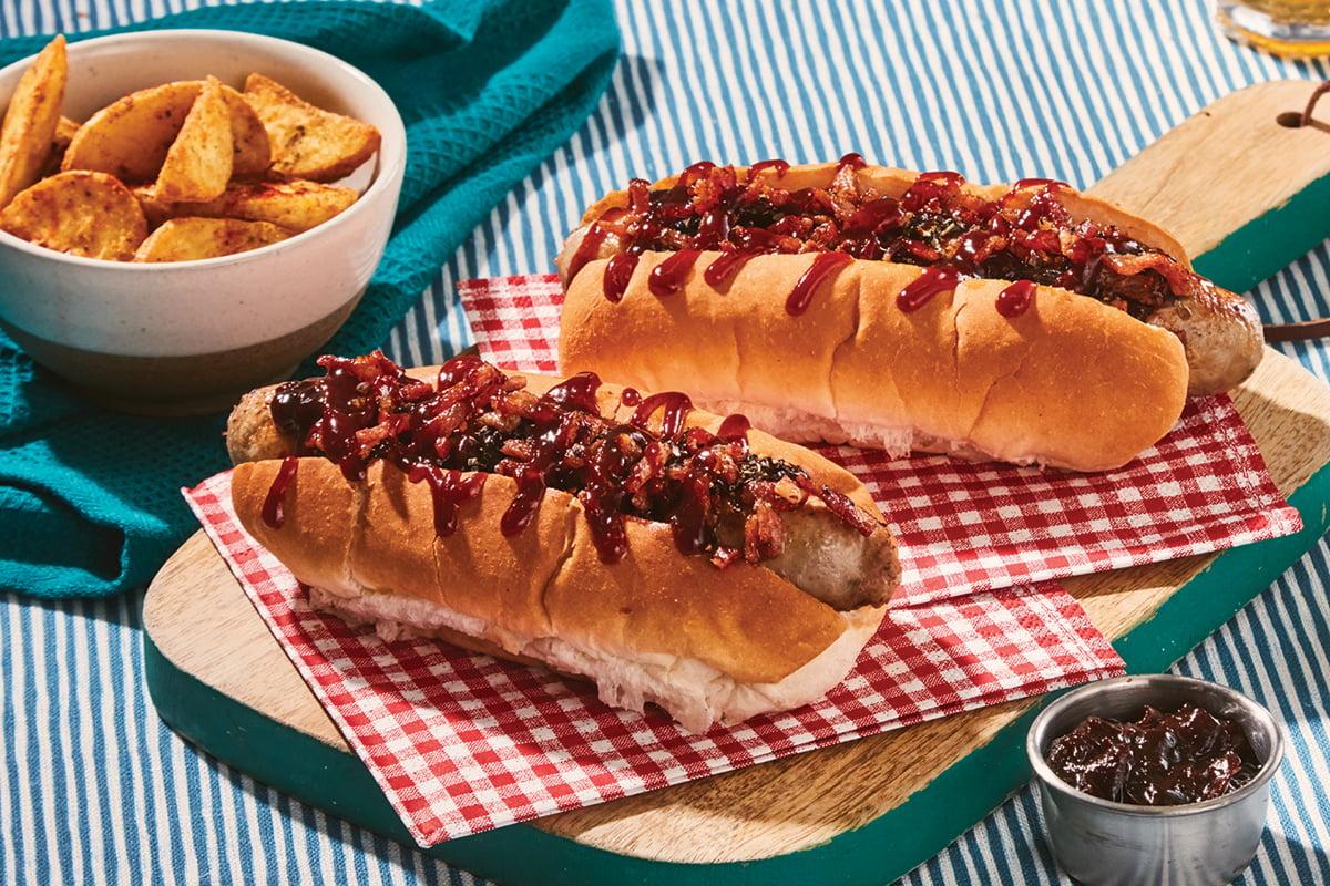 New York Style Hotdog with hickory & Sticky Balsamic Onions