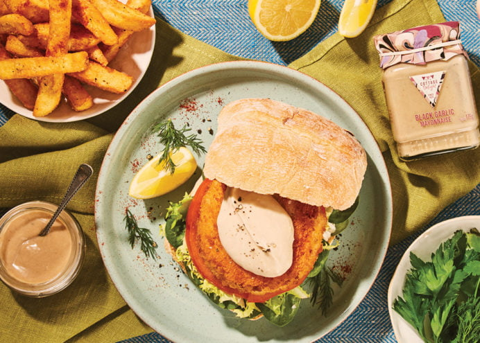 Salmon Burger with Black Garlic Mayo