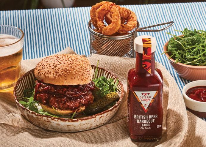 Steak House Boozy Burger with british BBQ Sauce
