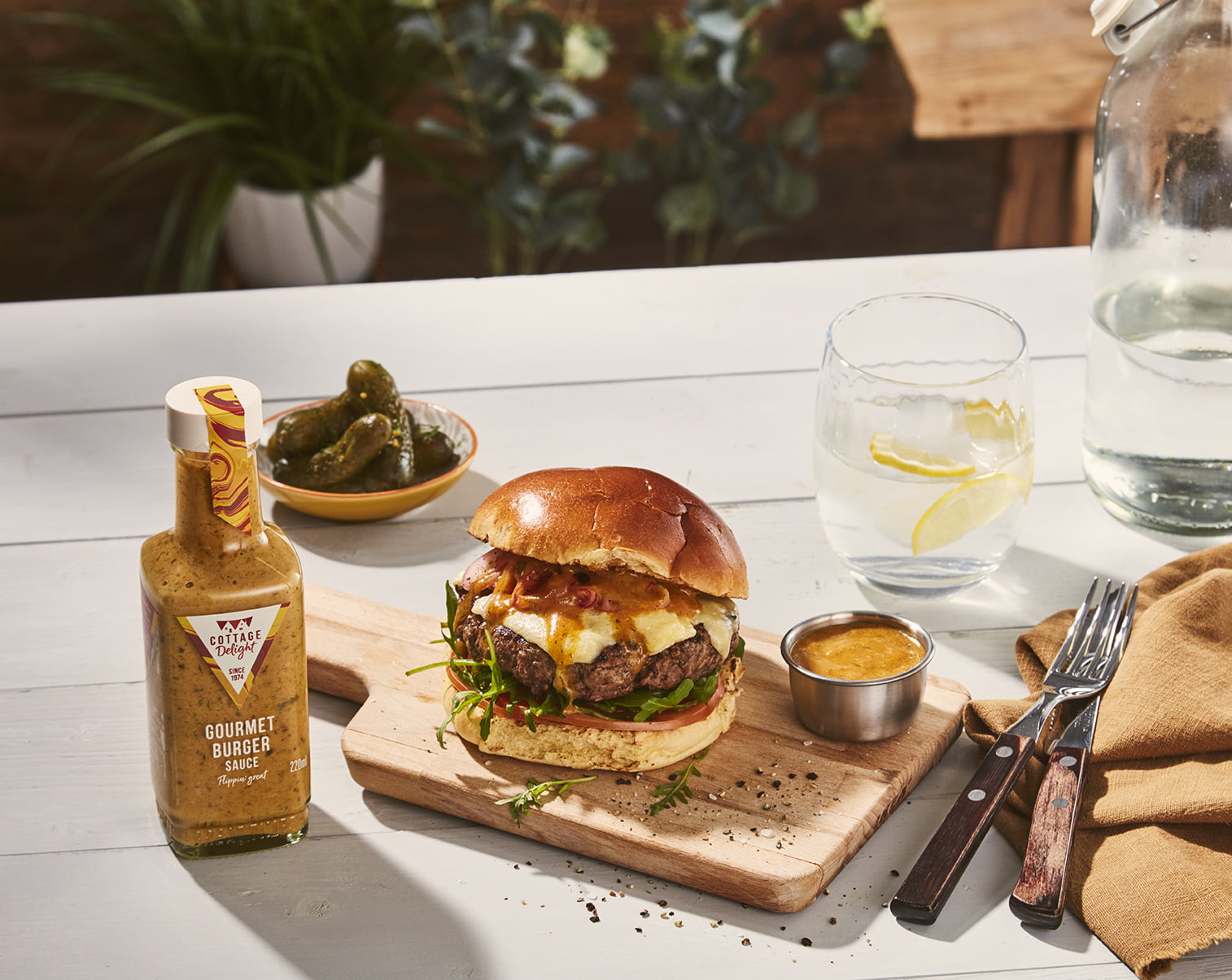 Gourmet burger sauce on a burger
