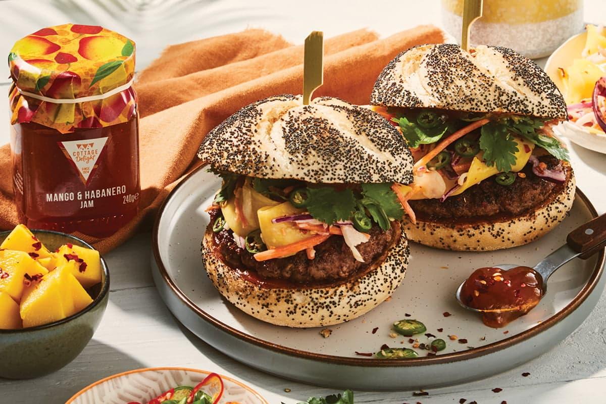 caribbean Burger with Mango & habanero jam
