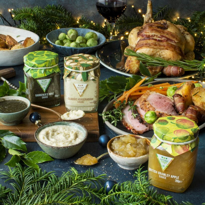 various festive dishes and sauces